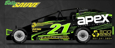 Apex sponsoring Bill Sauve's 2016 Sportsman Dirtcar season