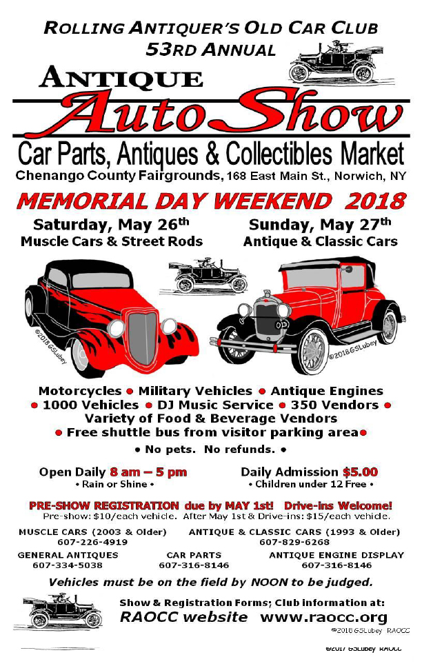 RAOCC 53rd Annual Antique Auto & Classic Car Show 2018 @ Chenango County Fairgrounds | Norwich | New York | United States