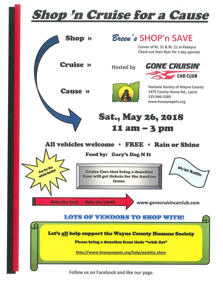 Shop 'n Cruise for a Cause 2018 @ Breen's SHOP'n SAVE | Palmyra | New York | United States