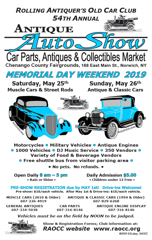 RAOCC 54th Annual Antique Auto & Classic Car Show 2019 @ Chenango County Fairgrounds | Norwich | New York | United States