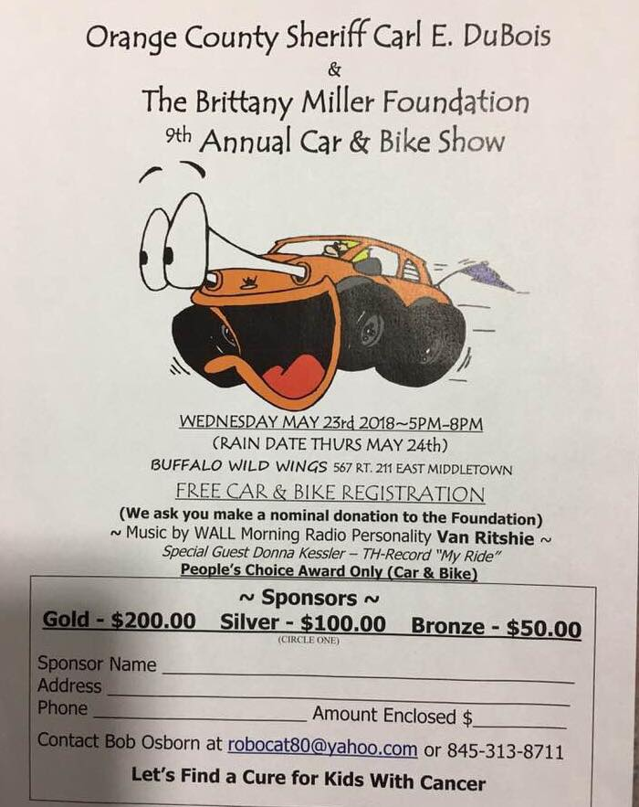 Orange County Sherriff Carl E. DuBois & The Brittany Miller Foundation 9th Annual Car & Bike Show 2018 @ Buffalo Wild Wings | Middletown | New York | United States