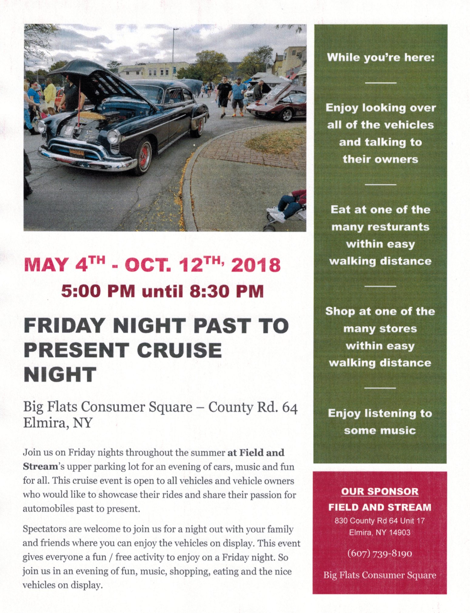 Friday Night Past to Present Cruise Night 2018 @ Field and Streams parking lot | Elmira | New York | United States