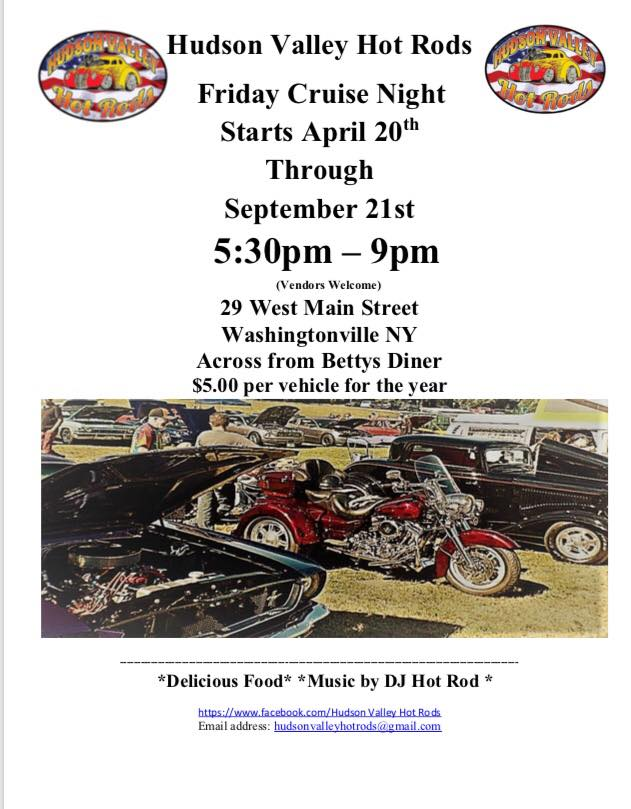 Hudson Valley Hot Rods Friday Cruise Night 2018 @ Across from Bett'y Diner | Washingtonville | New York | United States