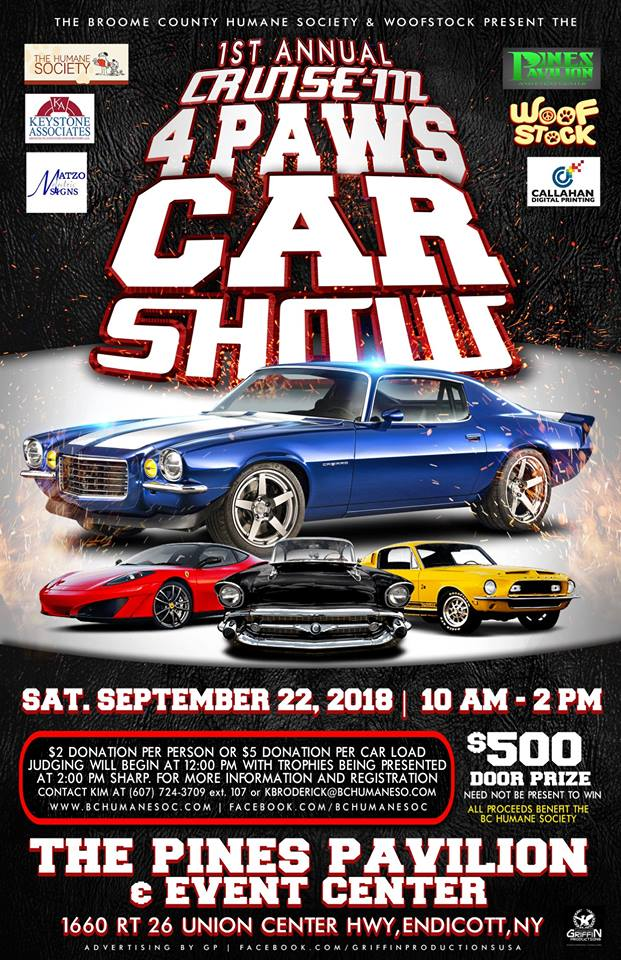 1st Annual Cruise-In 4 Paws Car Show 2018 @ The Pines Pavilion & Event Center | Endicott | New York | United States