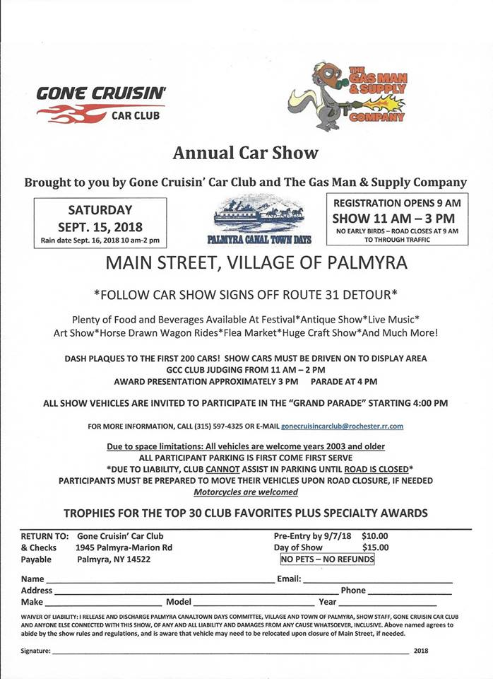 Annual Canaltown Days Car Show Apex Automotive Magazine - Car show dash plaque display