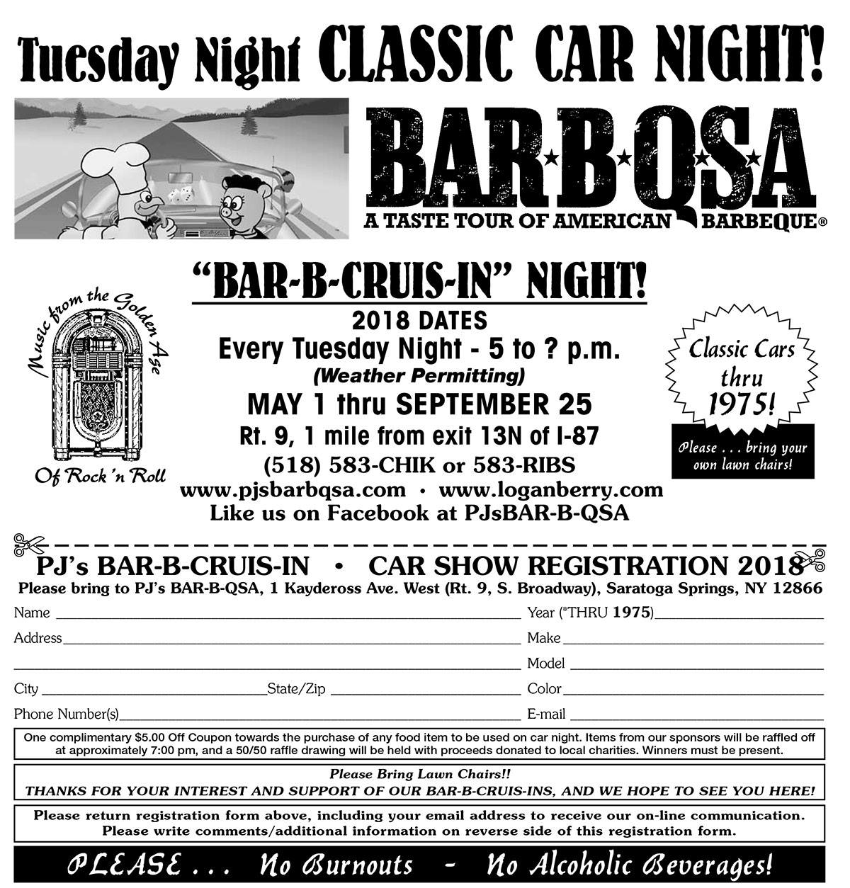 PJ's Bar-B-Cruis-In Classic Car Night 2018 @ PJ's BAR-B-QSA | Saratoga Springs | New York | United States