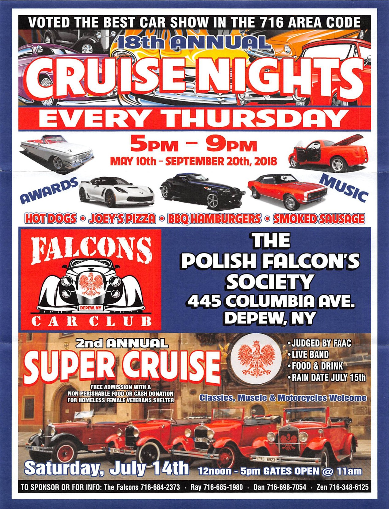 Polish Falcon's Society 18th Annual Cruise Night 2018 @ The Polish Falcon's Society | Depew | New York | United States
