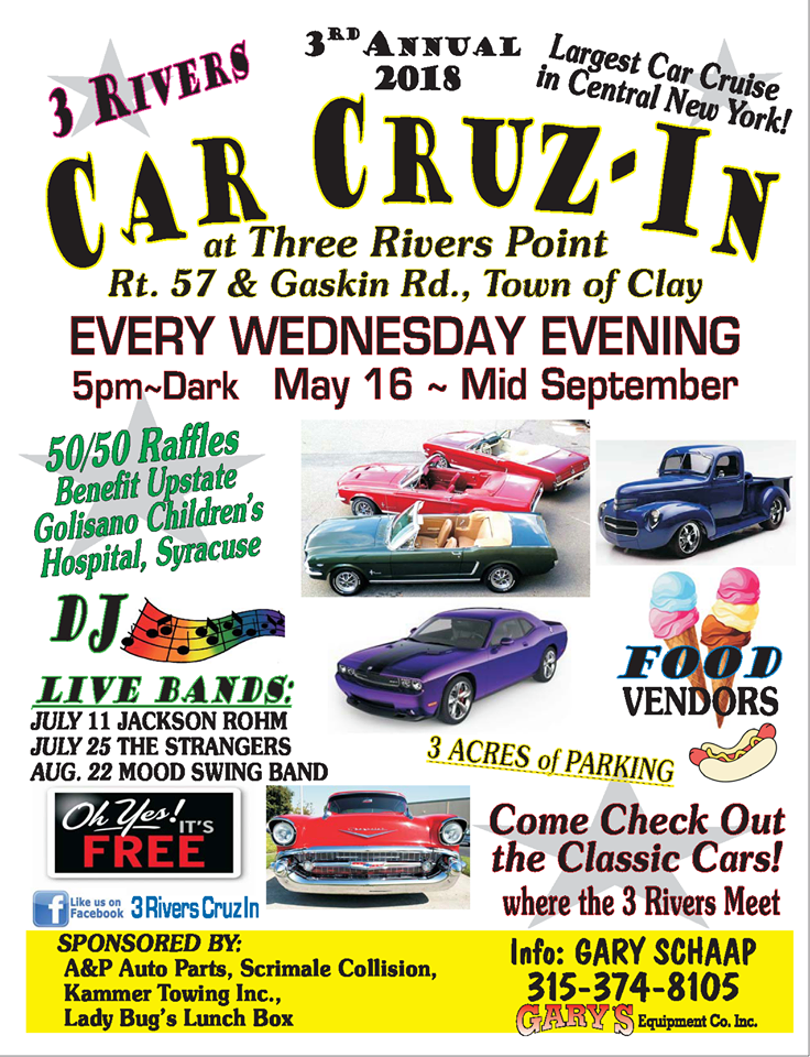 3 Rivers 4th Annual Car Cruz-In 2019 @ Three Rivers Point | Clay | New York | United States