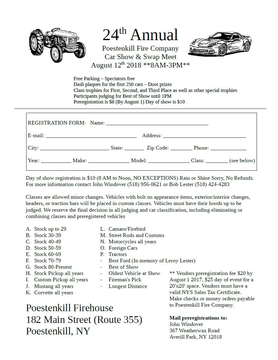 Poestenkill Fire Company Th Annual Car Show Apex Automotive - Car show trophies dash plaques