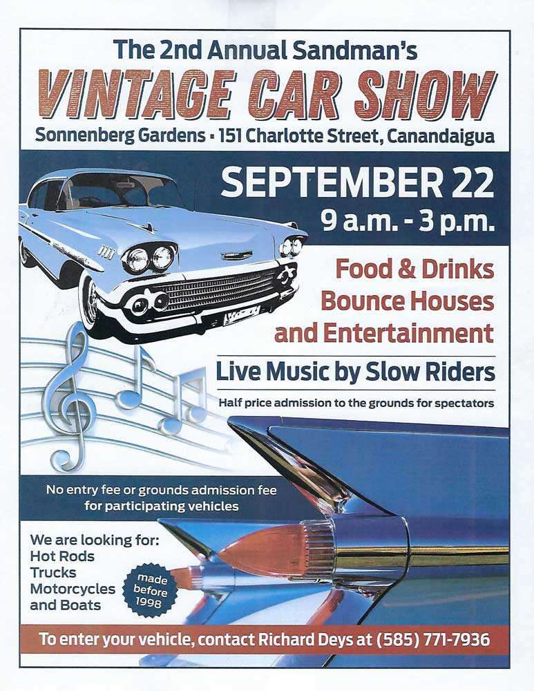 2nd Annual Sandman's Vintage Car Show 2018 @ Sonnenberg Gardens & Mansion State Historic Park | Canandaigua | New York | United States