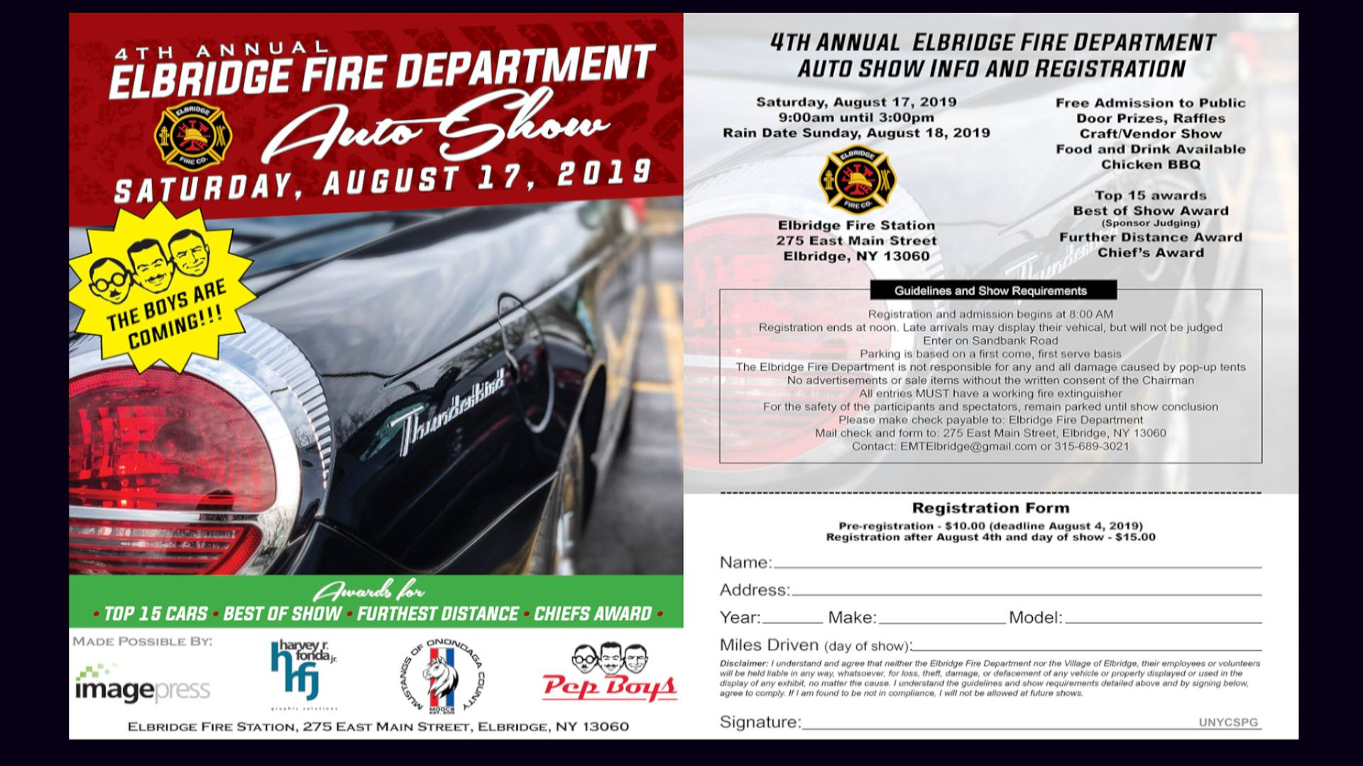 4th Annual Elbridge Fire Department Auto Show 2019   Apex
