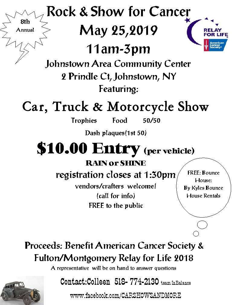 Rock & Show For Cancer Car, Truck & Motorcycle Show 2019 @ Johnstown Area Community Center