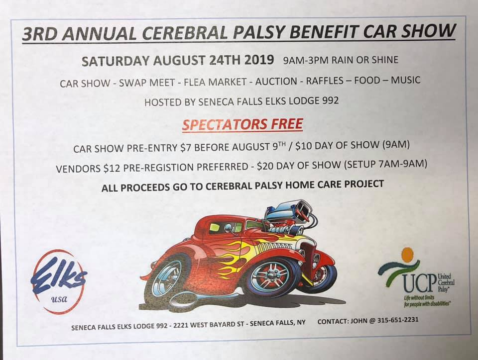 3rd Annual Car Show To Benefit Cerebral Palsy 2019 @ Seneca Falls Elks Lodge 992