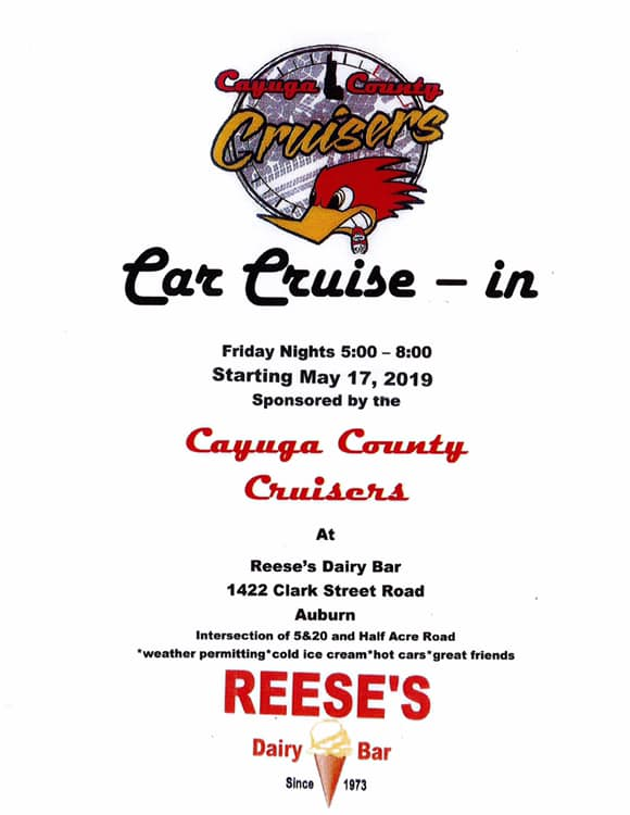 Cayuga County Cruisers Car Cruise-In 2019 @ Reese's Dairy Bar