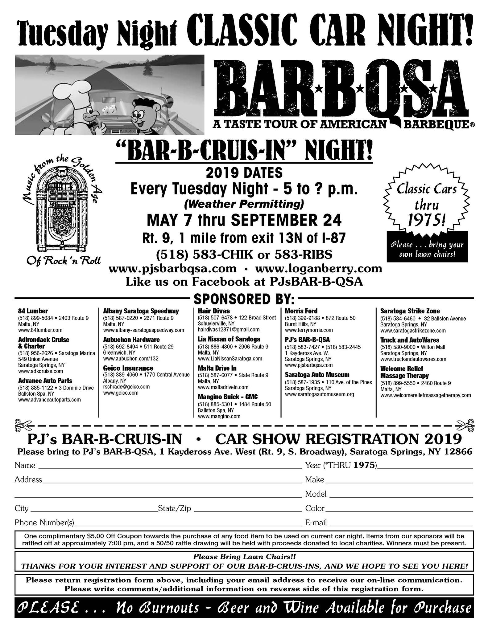 PJ's Bar-B-Cruis-In Classic Car Night 2019 @ PJ's BAR-B-QSA