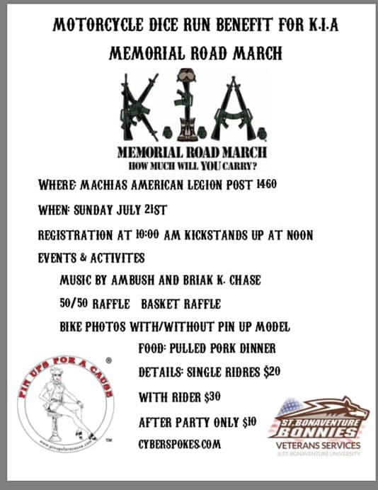 Motorcycle Dice Run to Benefit K I A Memorial Road March
