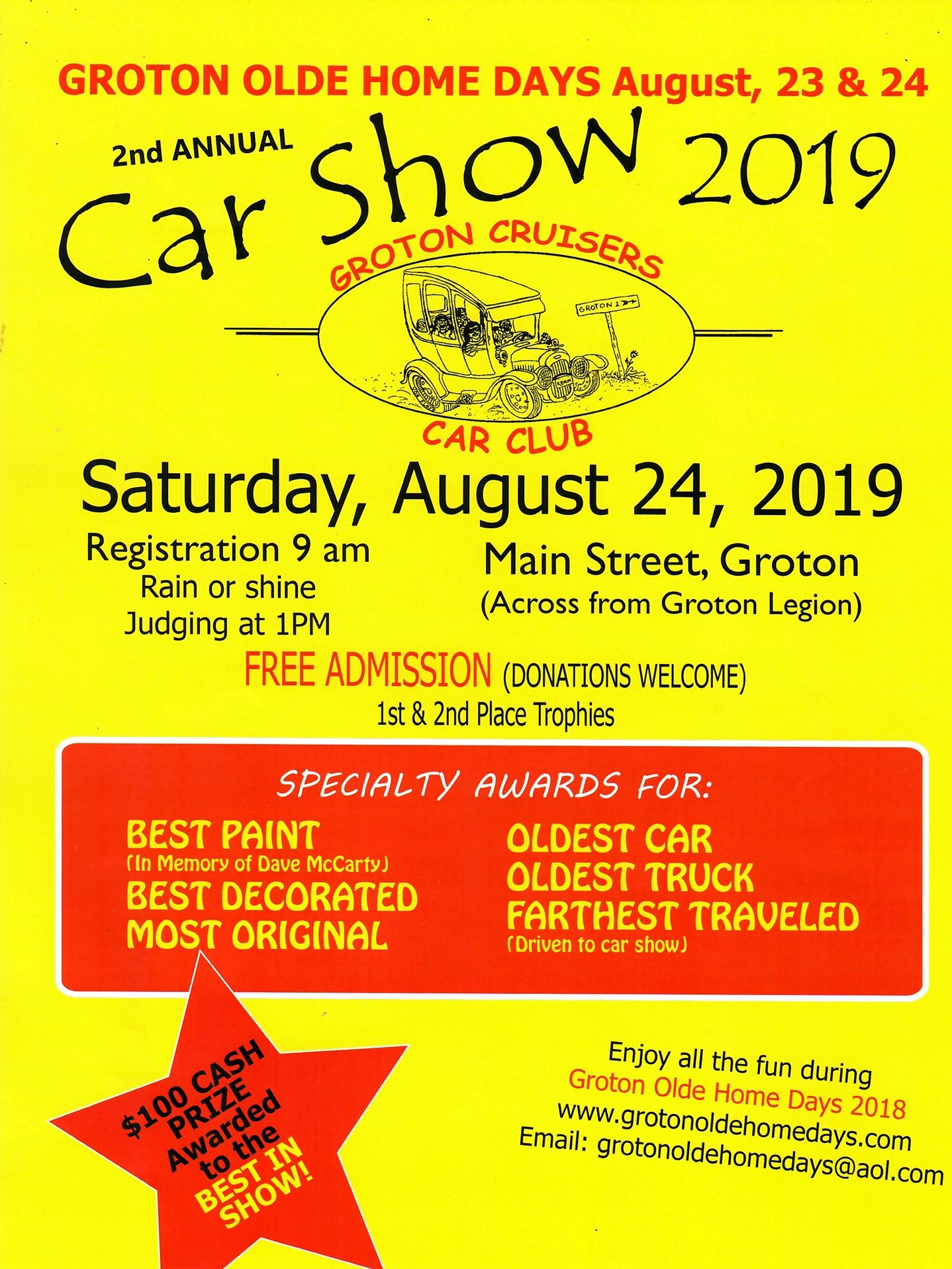 Groton Olde Home Days 2nd Annual Car Show 2019